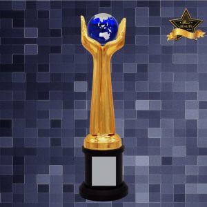 Sculpture Trophies AC4294 – Exclusive Globe & Hands Sculptures Awards
