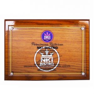 Crystal Plaques CR3066 – Wooden Crystal Opening Ceremony Plaque