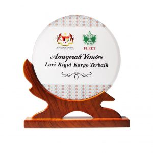 Crystal Plaques CR3096 – Exclusive Round Wooden Crystal Plaque