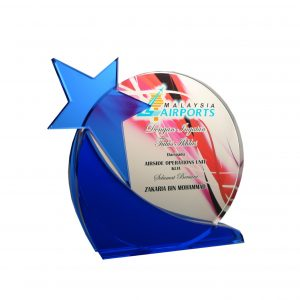 Crystal Plaques CR8157 – Exclusive Round Crystal Glass Star Awards
