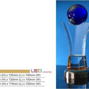 Crystal Plaques CR8332 – Globe Color Crystal Award