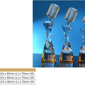 Crystal Trophies CR8334 – Microphone Color Crystal Award