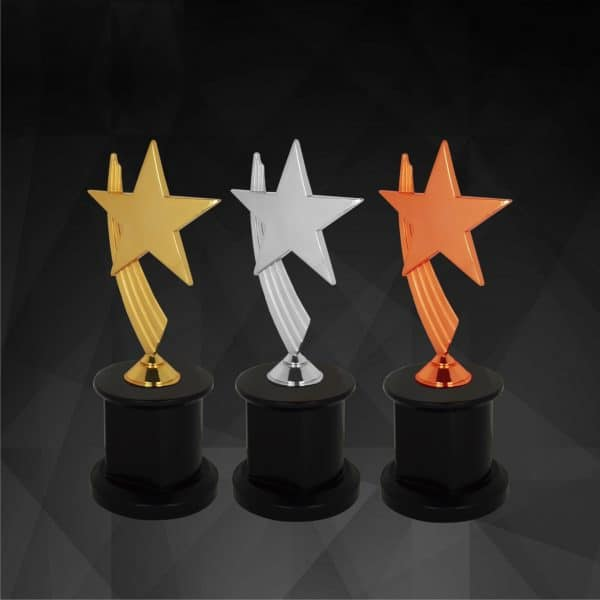 Plastic Trophies CR9147 – Exclusive Star Awards (GOLD, SILVER, BRONZE)