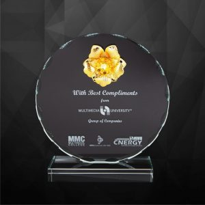 Crystal Plaques CR9217 – Exclusive Round Crystal Flower Plaques
