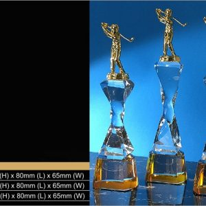 Crystal Trophies CR9347 – Exclusive Golf Crystal Trophy