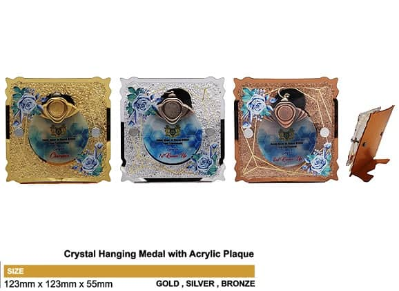Medals SP5034 – Crystal Hanging Medal with Acrylic Plaque