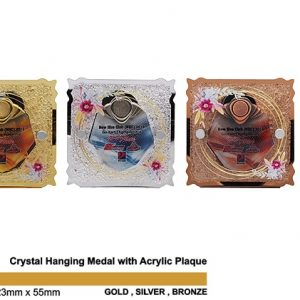 Medals SP5035 – Crystal Hanging Medal with Acrylic Plaque