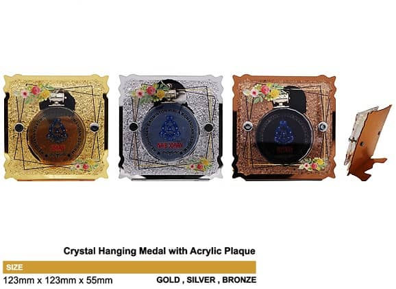 Medals SP5036 – Crystal Hanging Medal with Acrylic Plaque