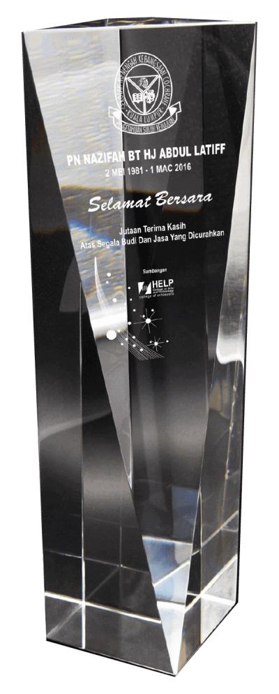 Example 2 of Laser Engraving on our custom made Crystal Trophies - Sapiens Trophy Malaysia